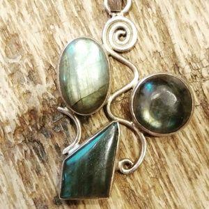 "Jewelry - 2"" Triple LABRADORITE Sterling Silver 925 Pendant"